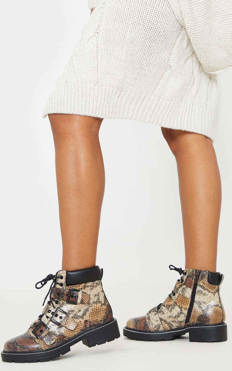 Snake Chain Sole Cleated Buckle Detail Lace Up Ankle Boot 2