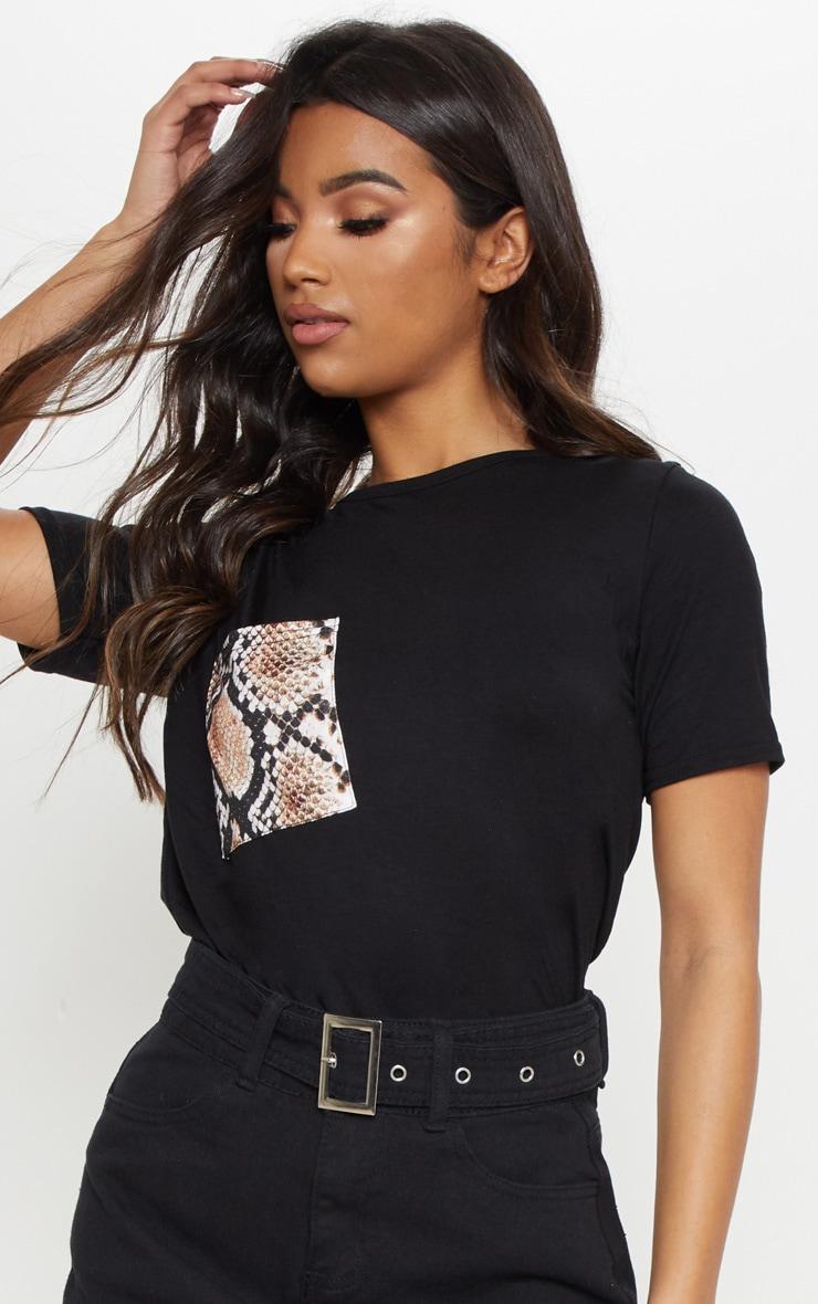 Black Snake Print Pocket T shirt 5