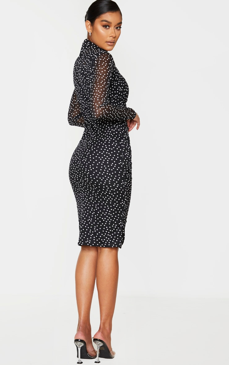 Black Polka Dot Print Ruched Mesh Midi Dress 2