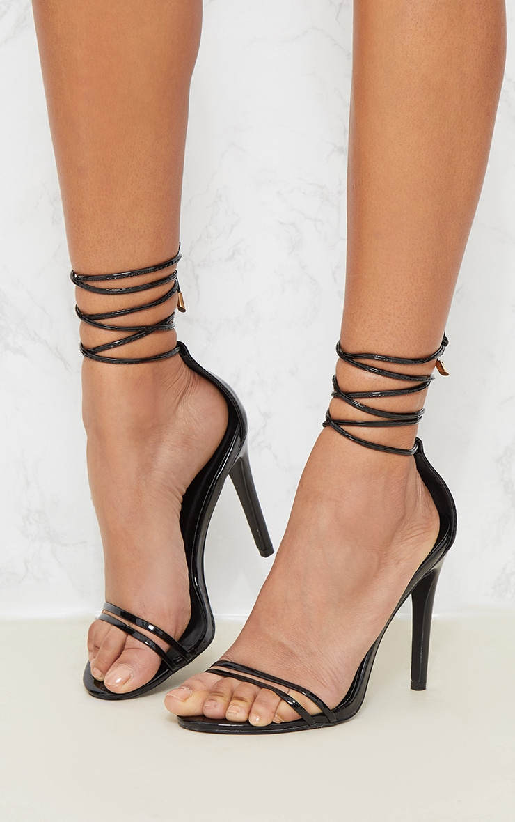 Black Strappy Barely There Ankle Tie Sandal 2