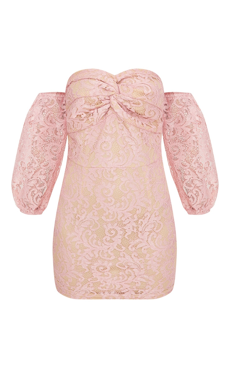 Petite Dusty Pink Lace Puff Sleeve Bodycon Dress 3
