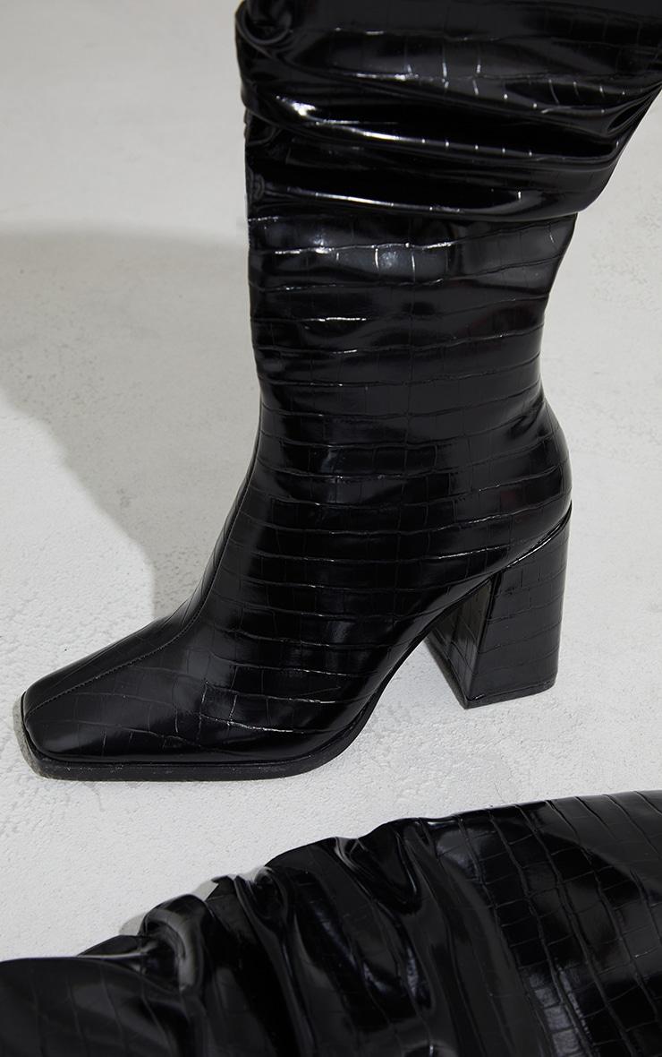 Black High Block Heel Croc Knee High Boots 3