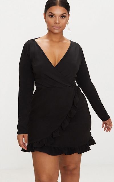 Plus Black Long Sleeve Ruffle Wrap Dress