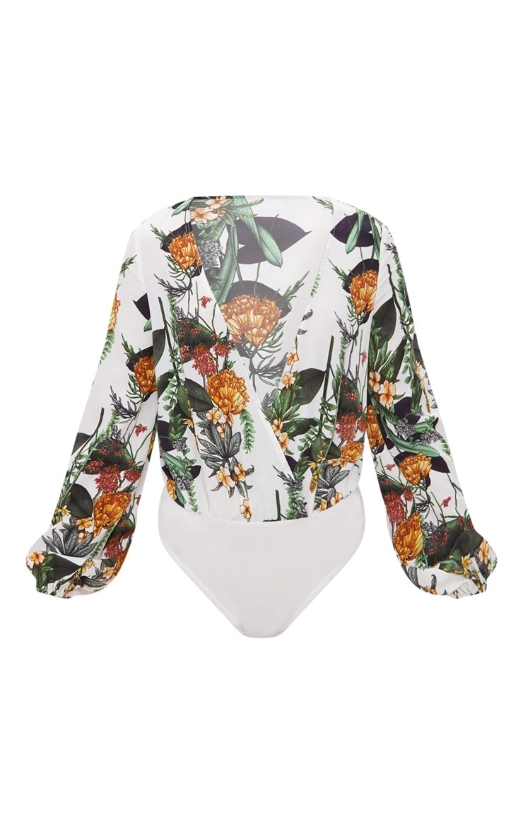 White Floral Print Long Sleeve Plunge Thong Bodysuit  3