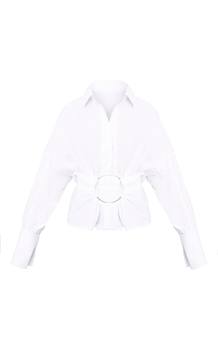 White O Clasp Belt Oversized Shirt 3
