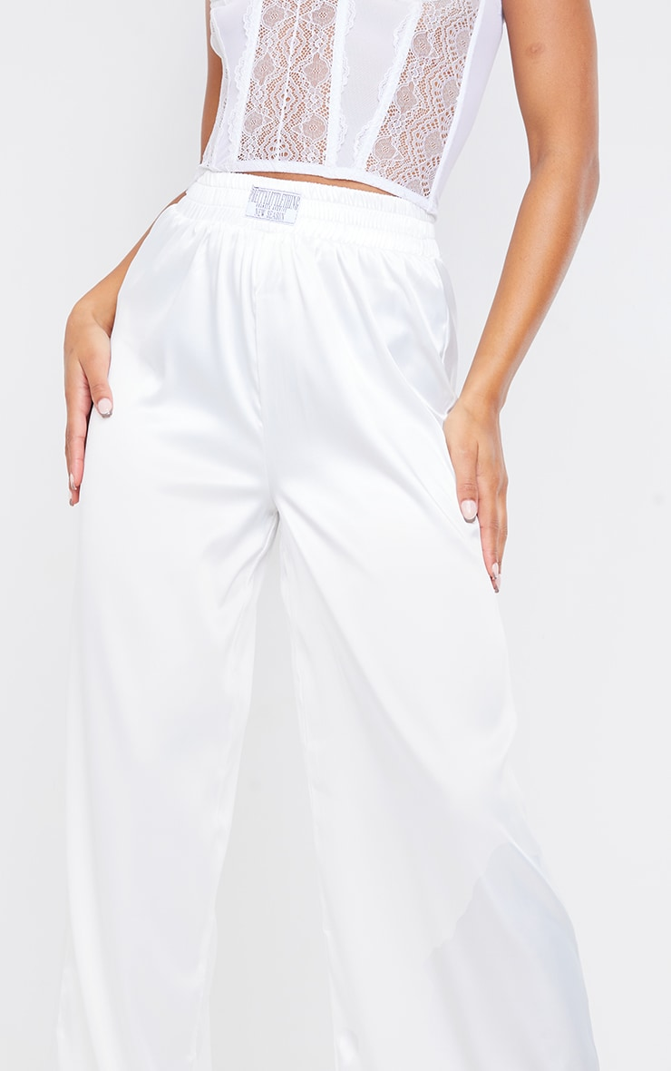 PRETTYLITTLETHING White Badge Satin Wide Leg Trousers 4