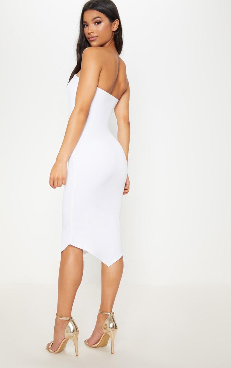 White Pointy Hem Midi Dress 2
