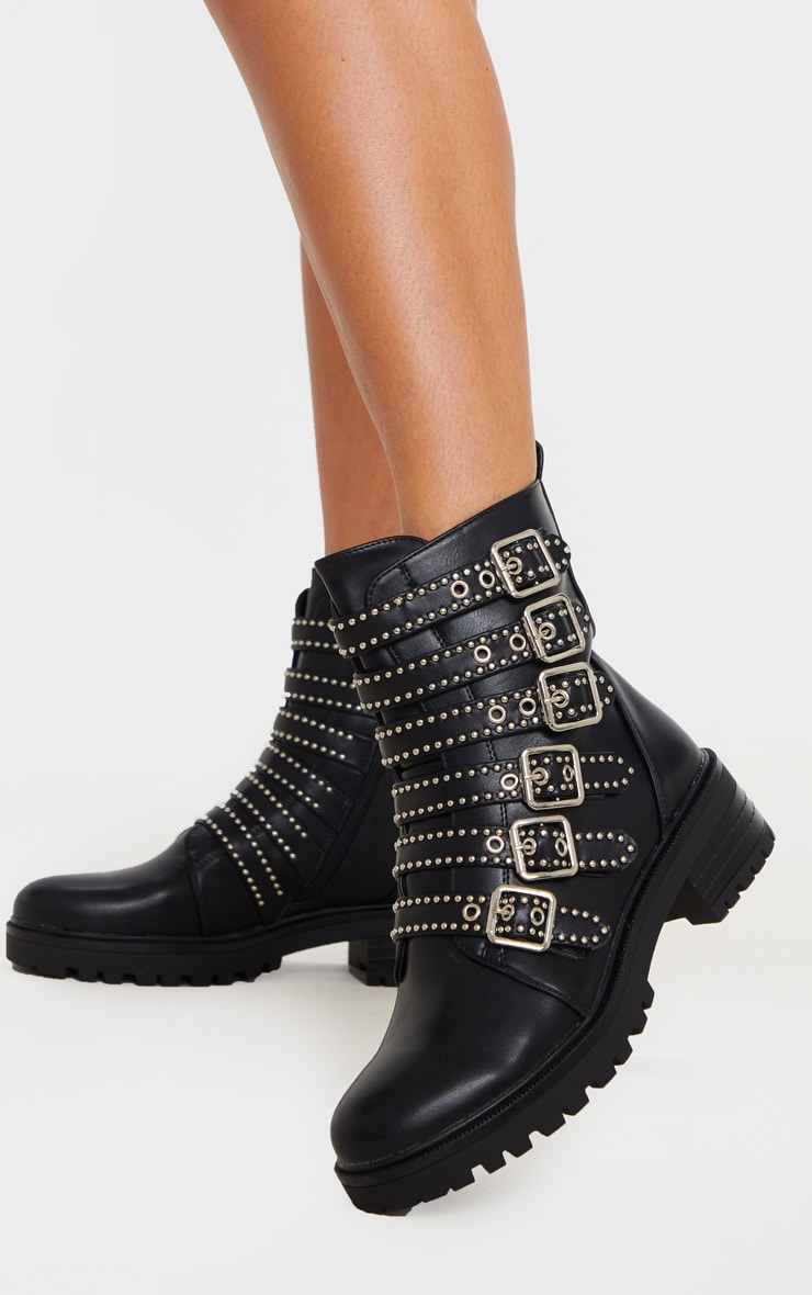 Black Studded Buckle Strap Cleated Biker Boot 2