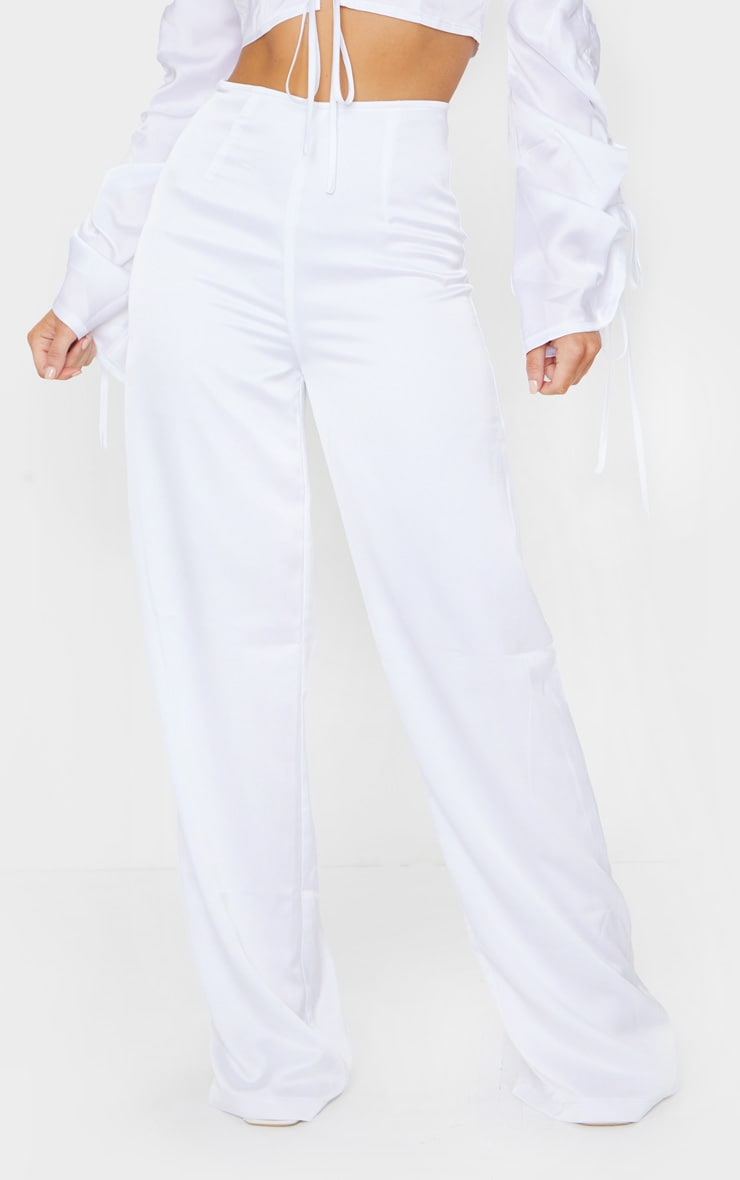 White Satin Wide Leg Pants 2