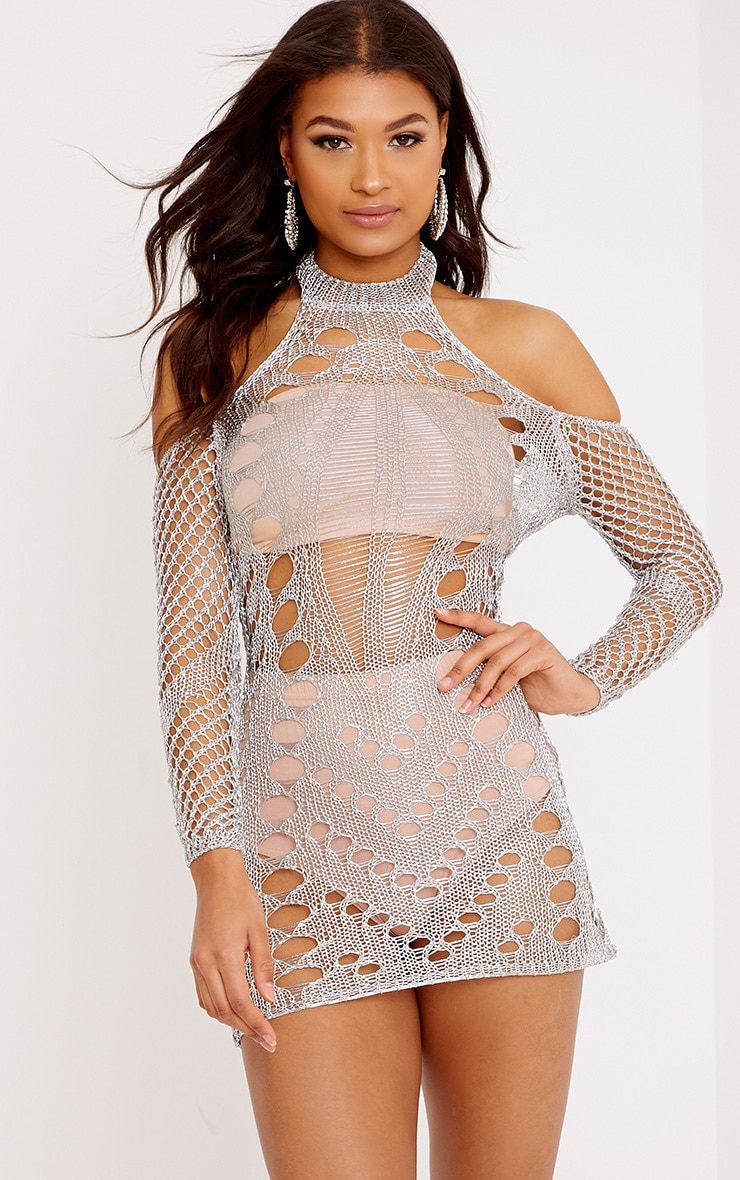 5b7b0bd6fe1 Penn Silver Metallic Cobweb Knit Mini Dress image 1
