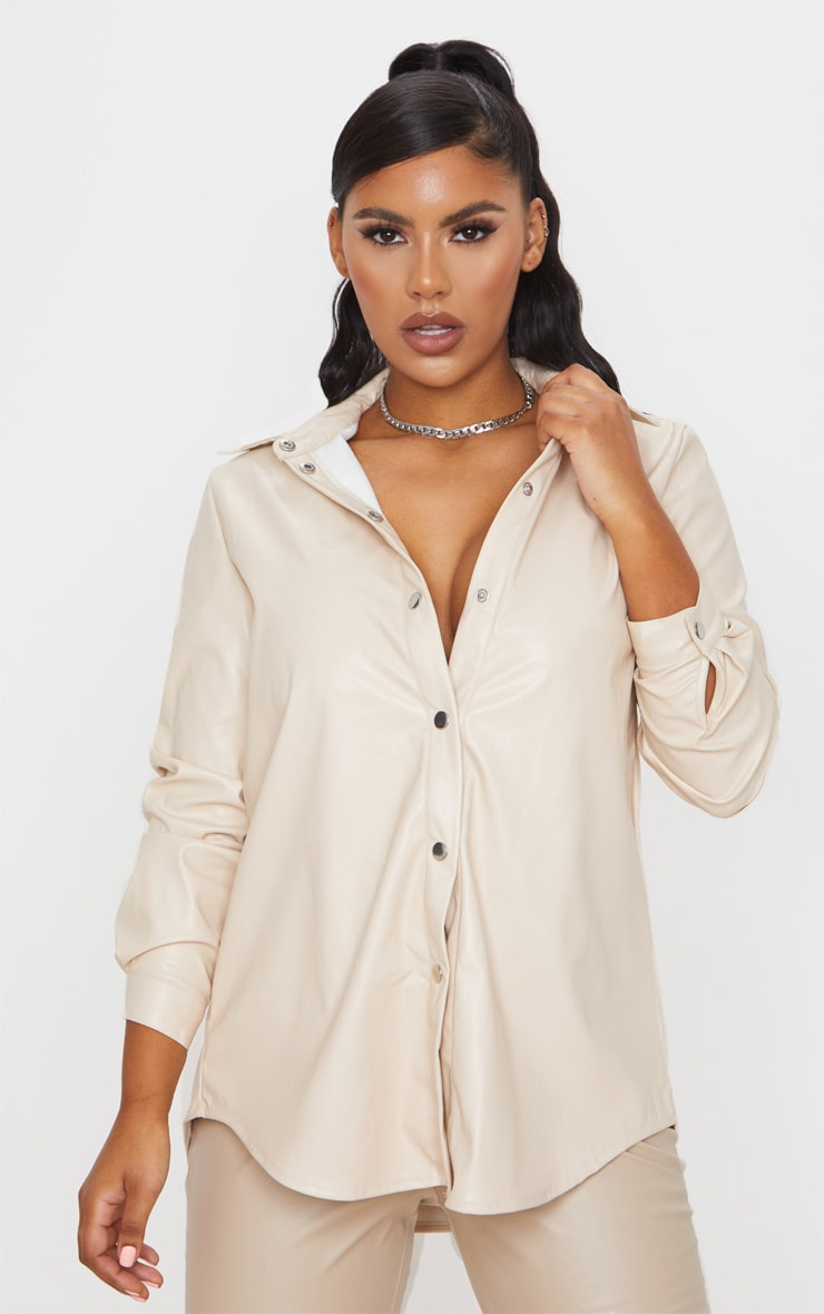 Cream Faux Leather Oversized Shirt 1