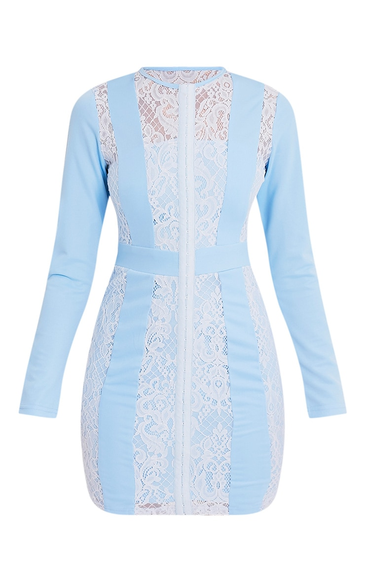 Issie Powder Blue Long Sleeve Lace Panel Bodycon Dress 3