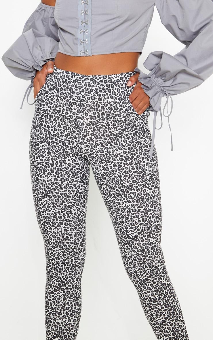 Grey Leopard Print Skinny Trouser 5