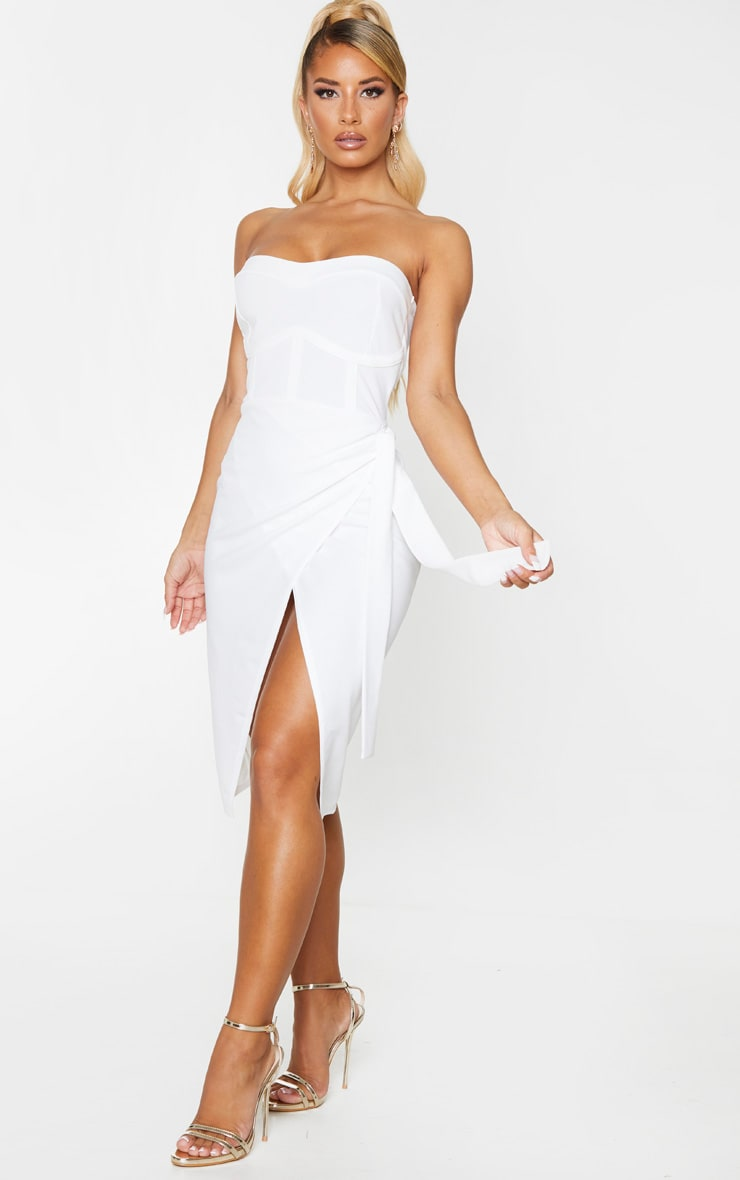 White Binding Detail Tie Wrap Bandeau Midi Dress 3