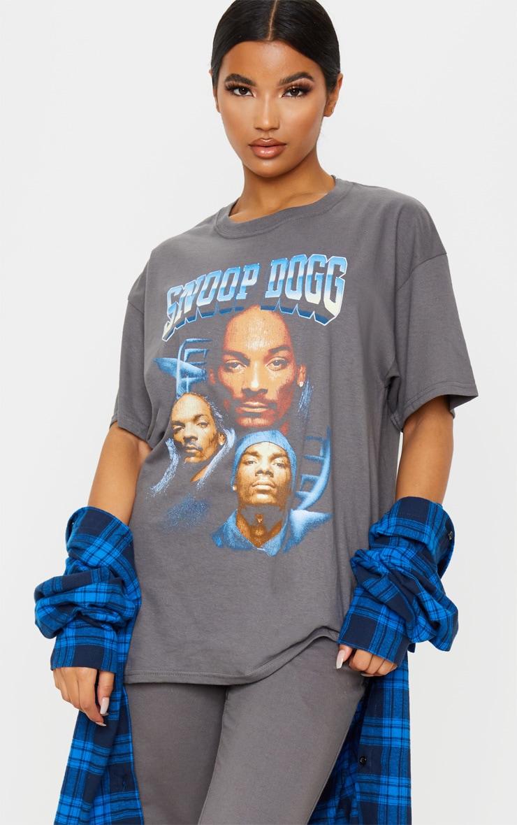 T-shirt oversize gris à imprimé Snoop Dogg 1