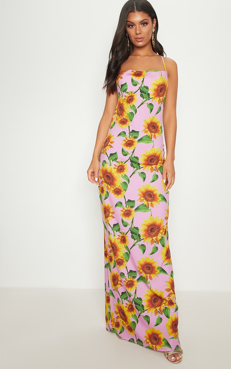 Pink Sunflower Strappy Cowl Back Maxi Dress 2