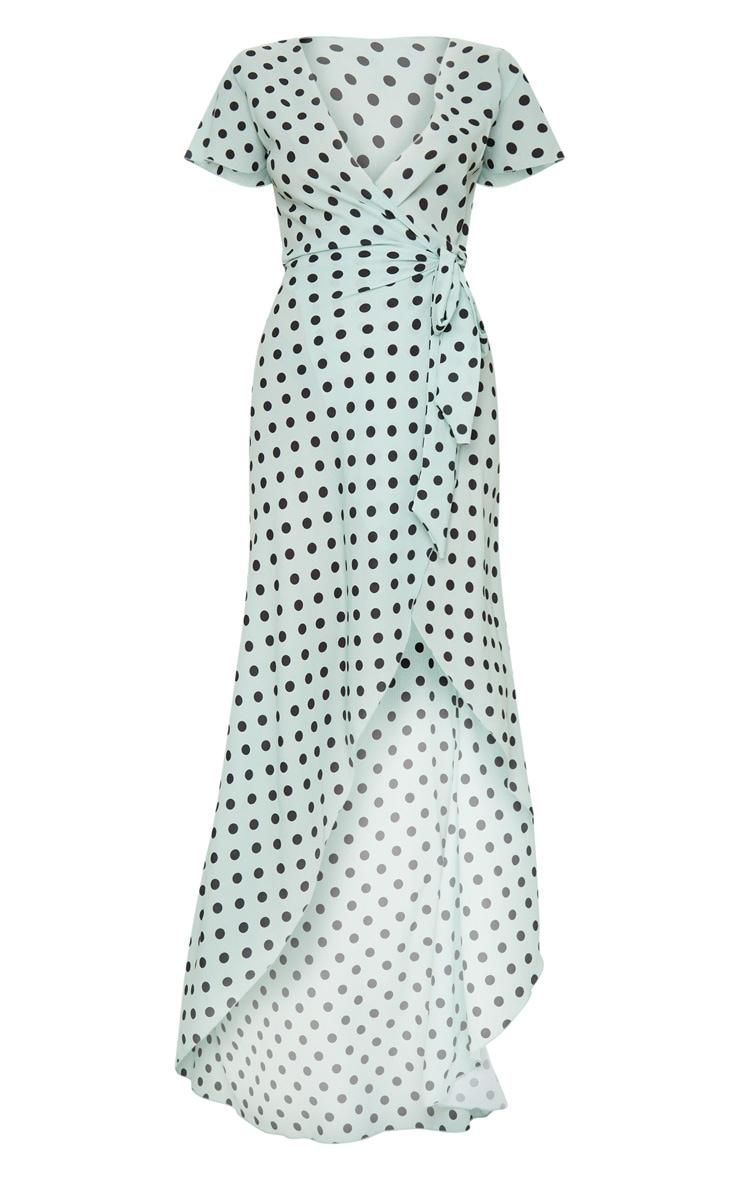 Sage Green Polka Dot Tie Waist Maxi Dress 5