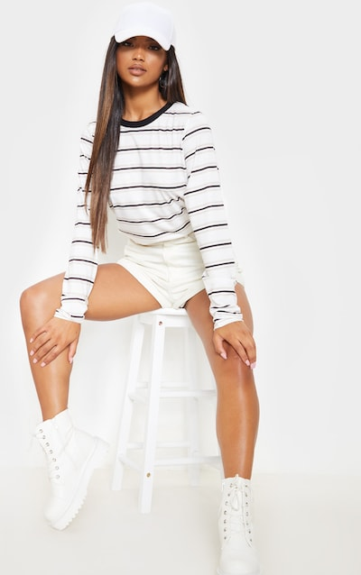 White Stripe Long Sleeve T Shirt