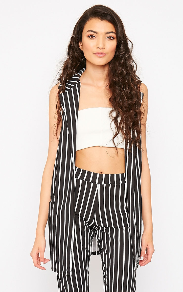 Jakoba Black Pinstripe Sleeveless Jacket 4
