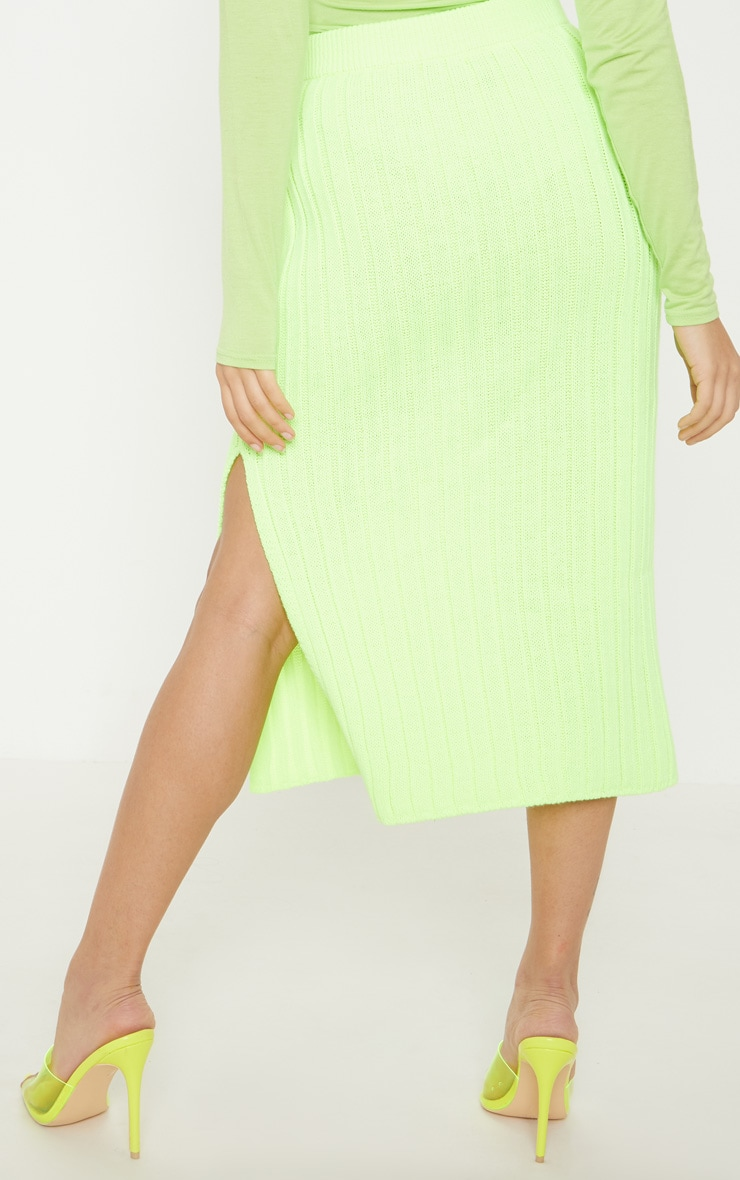 Petite Knitted Neon Lime Ribbed Midi Skirt 2