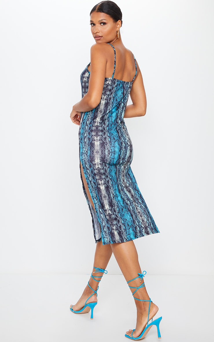 Teal Snake Print Jersey Split Cami Midi Dress 2