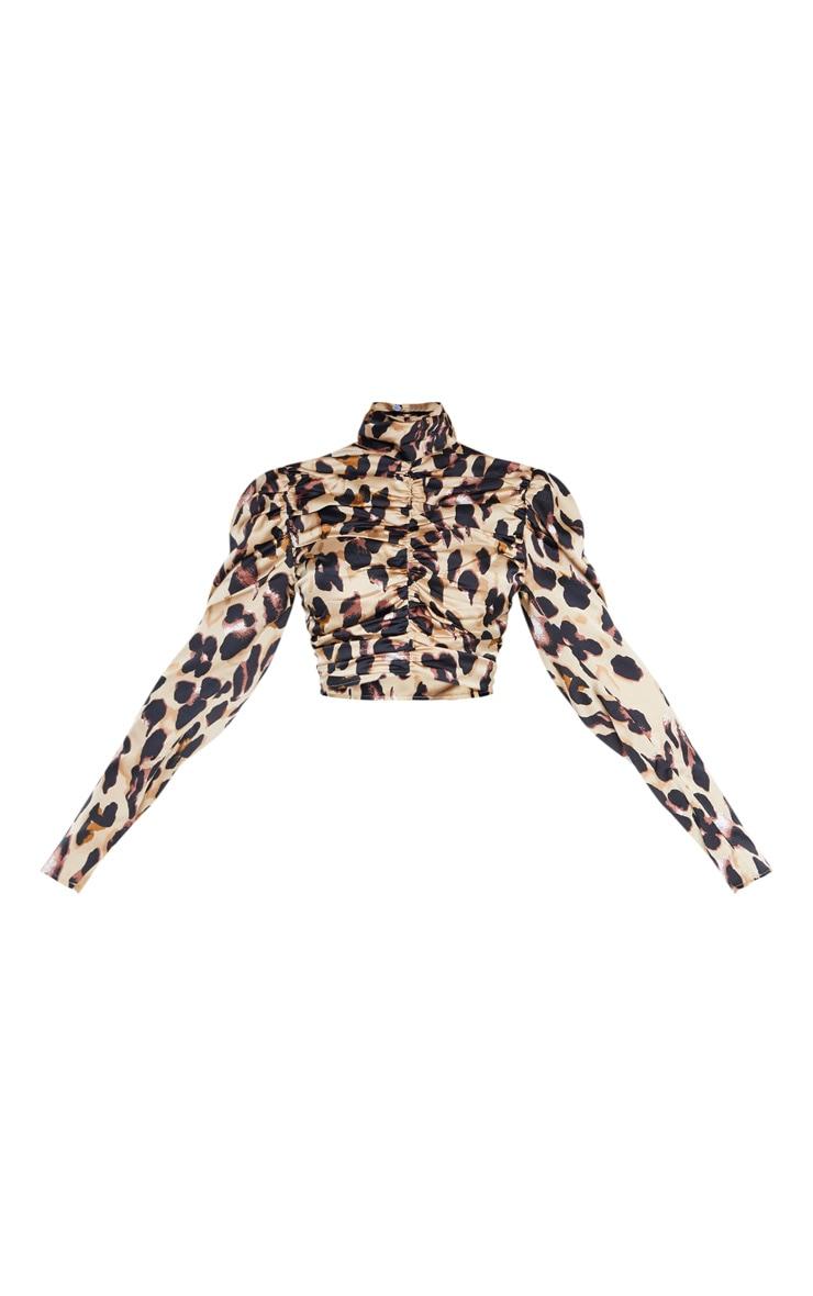 Top marron clair léopard froncé à col haut 3