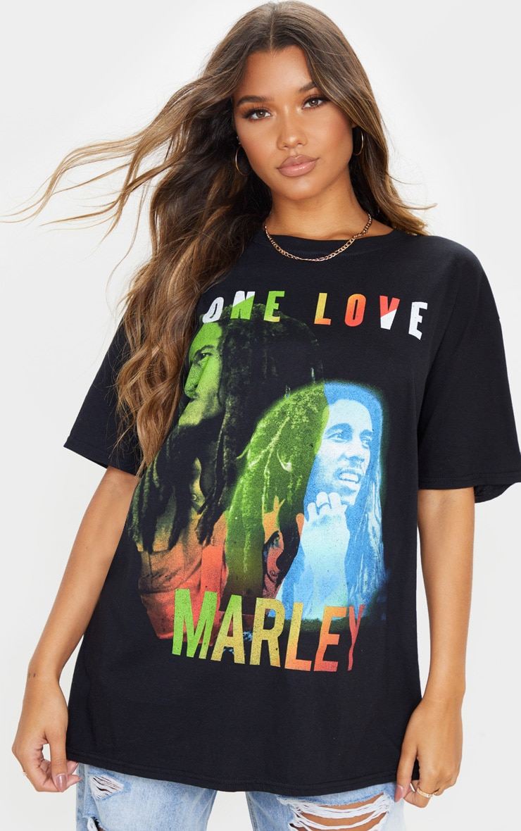 Black One Love Bob Marley Print T Shirt 1
