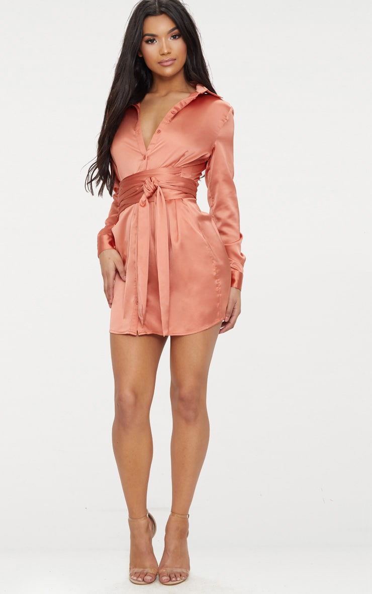 Copper Satin Tie Waist Shirt Dress 4