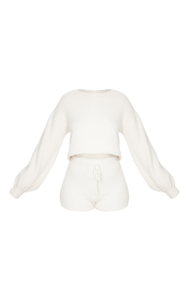 Cream Chenille Balloon Sleeve Sweater And Shorts Lounge Set 5