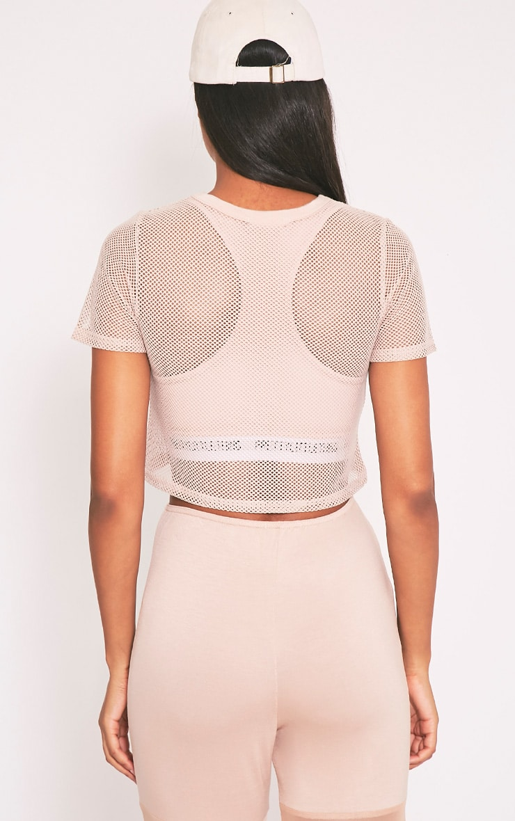 Mayce Nude Fishnet Shortsleeve Crop Top 2