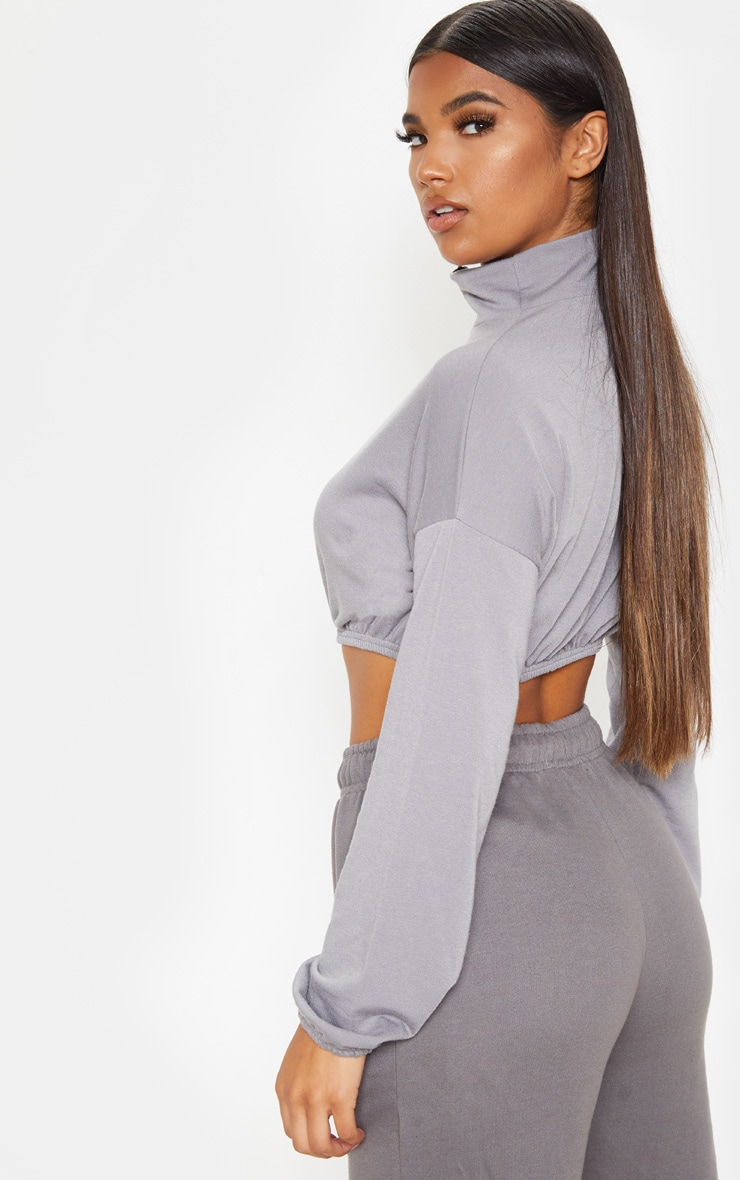 Grey Cotton Zip Elastic Hem Crop Sweater 2