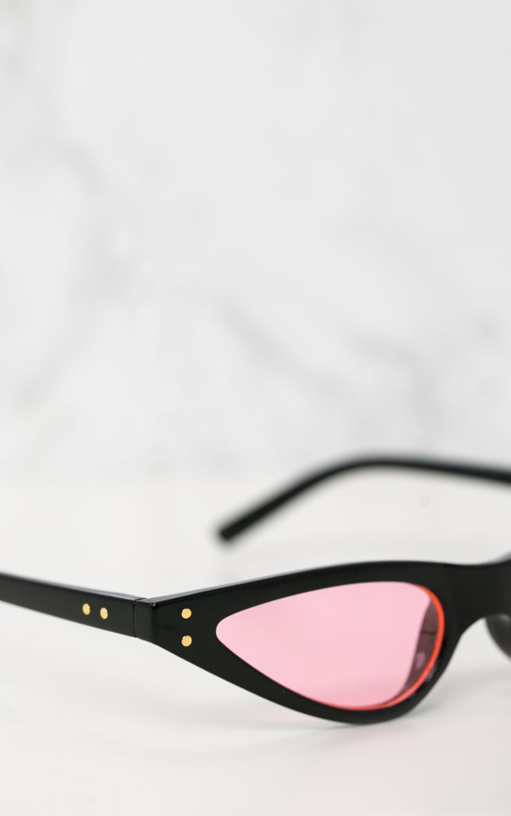 Black Pink Lens Cat Eye Skinny Sunglasses 4