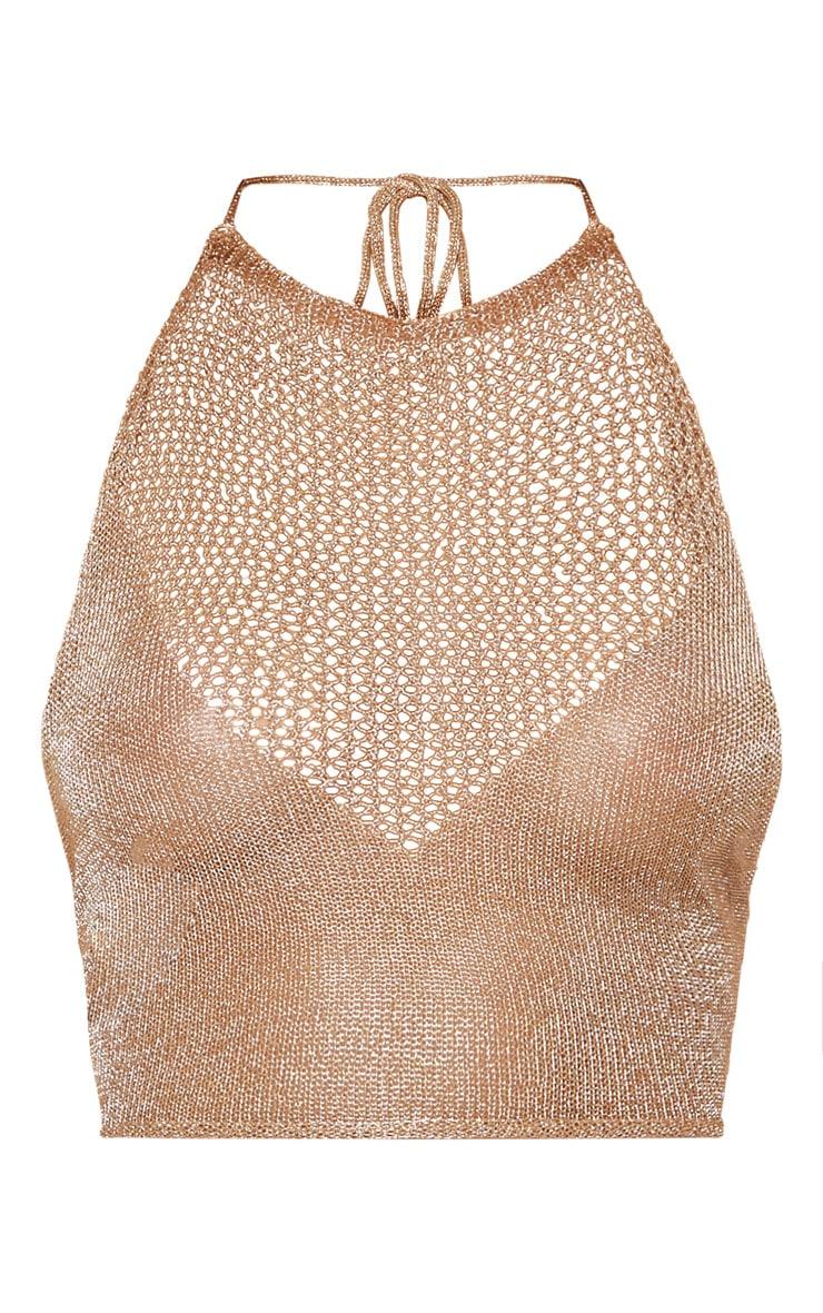 Nubia top court tricoté or métallisé 3