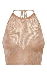 1eb27b98f538d2 Nubia Gold Metallic Knitted Crop Top image 3
