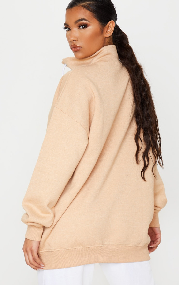 Sand Lace Up High Neck Sweater 2