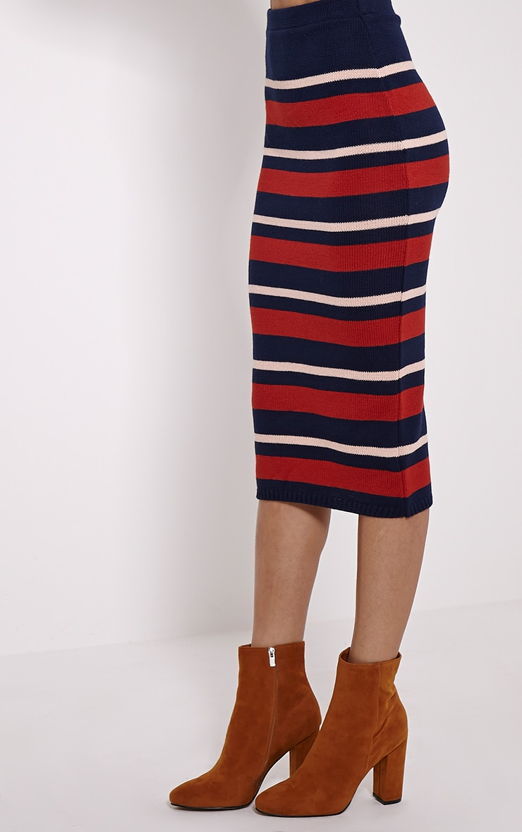 Aurora Navy Stripe Knitted Midi Skirt 3