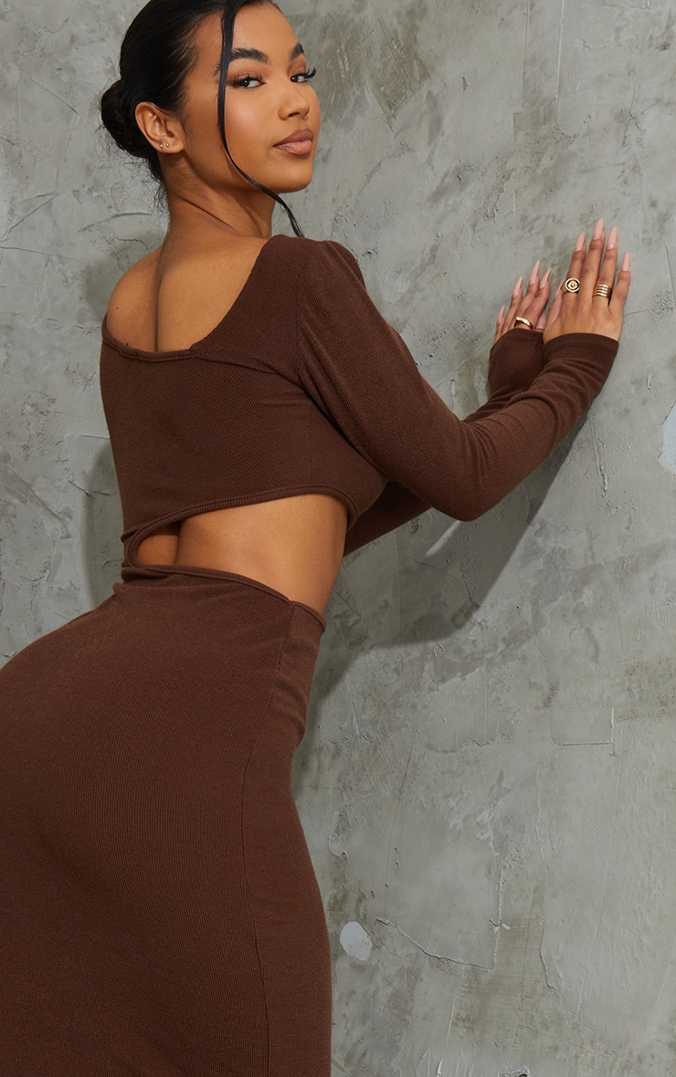 Chocolate Ribbed Long Sleeve Cut Out Midaxi Dress 4