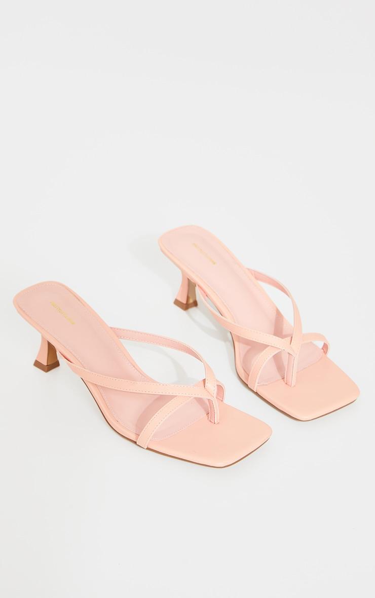 Peach PU Square Toe Thong Strap Low Heeled Mule Sandals 3