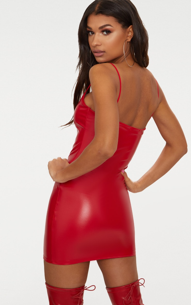 Red Strappy PU Bodycon Dress 2