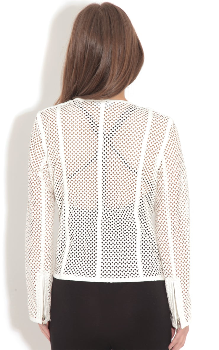 Donna White Leather Laser Cut Jacket 2