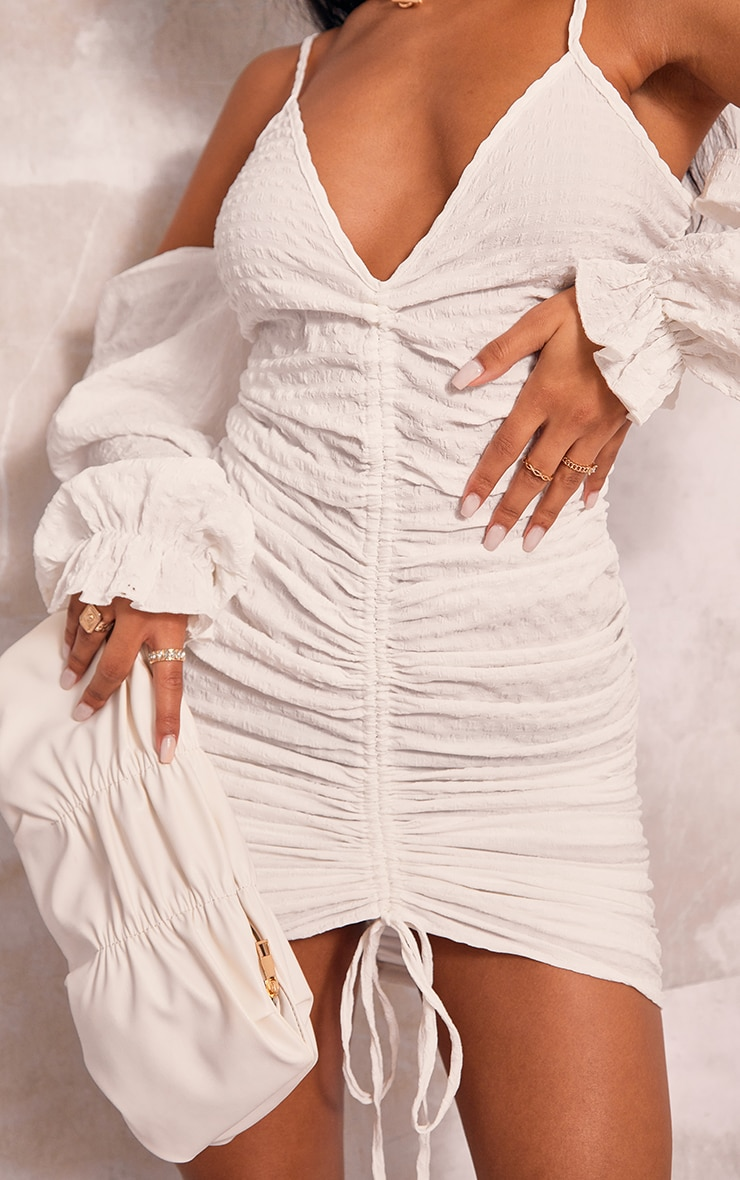 White Textured Cold Shoulder Ruched Bodycon Dress 4