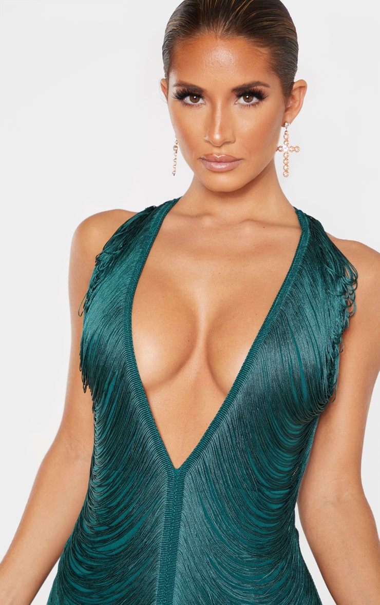 Emerald Green Extreme Plunge Tassel Bodycon Dress 3