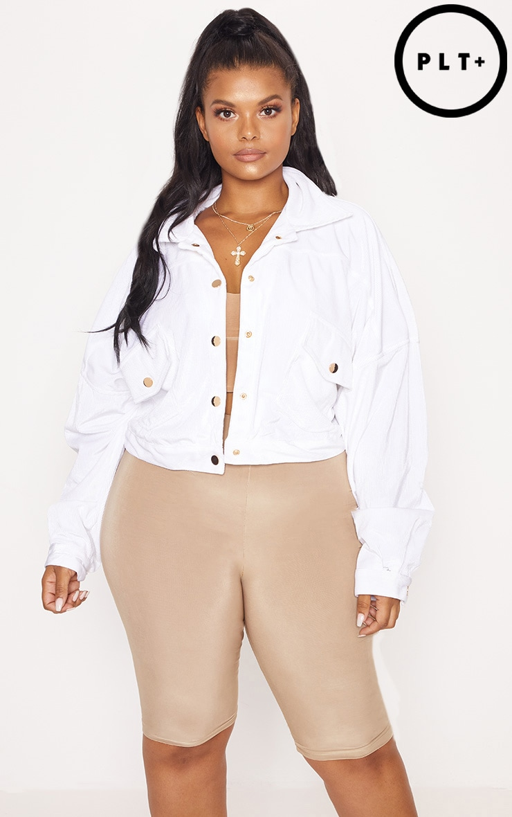 Plus White Cropped Cord Oversized Trucker Jacket 1
