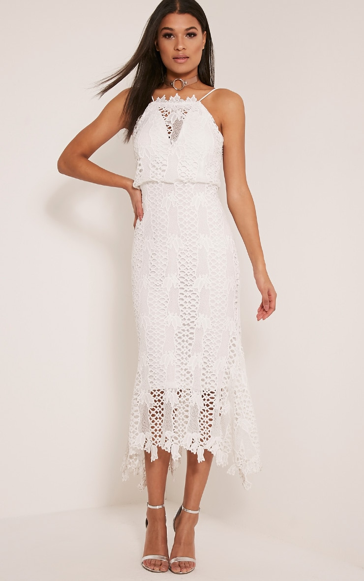 Reeya White Lace Midaxi Dress 4