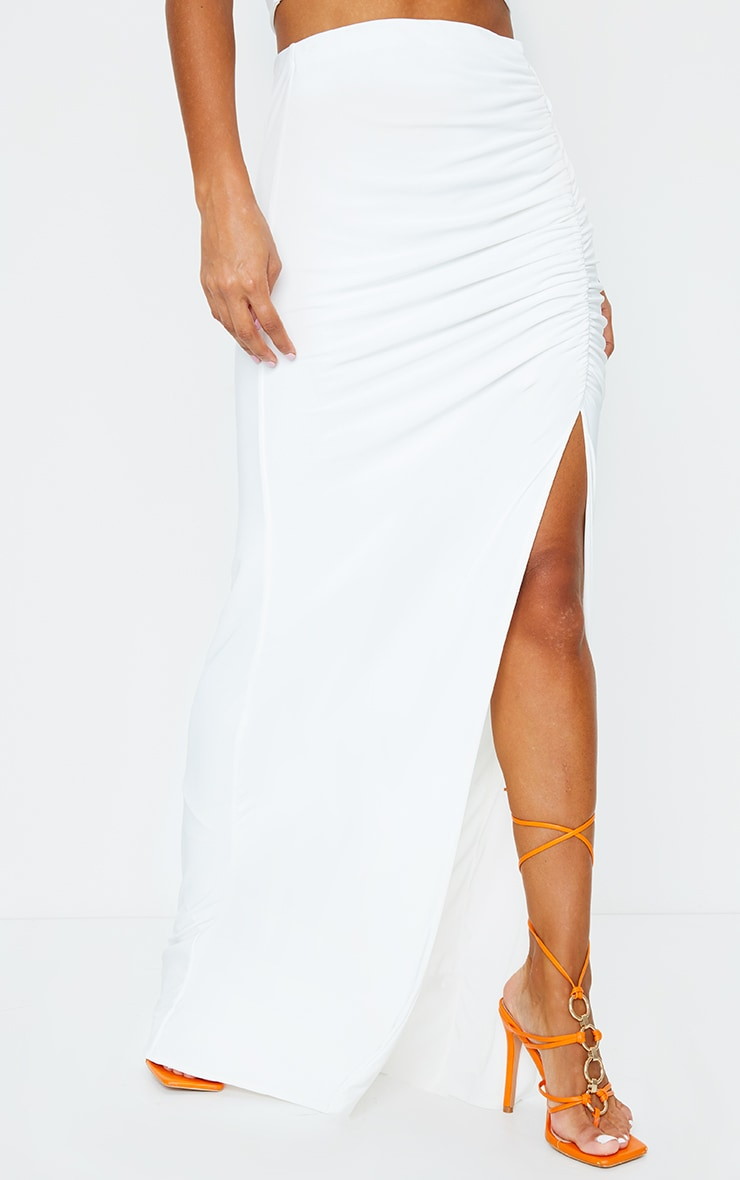 Cream Slinky Ruched Waist Maxi Skirt 2