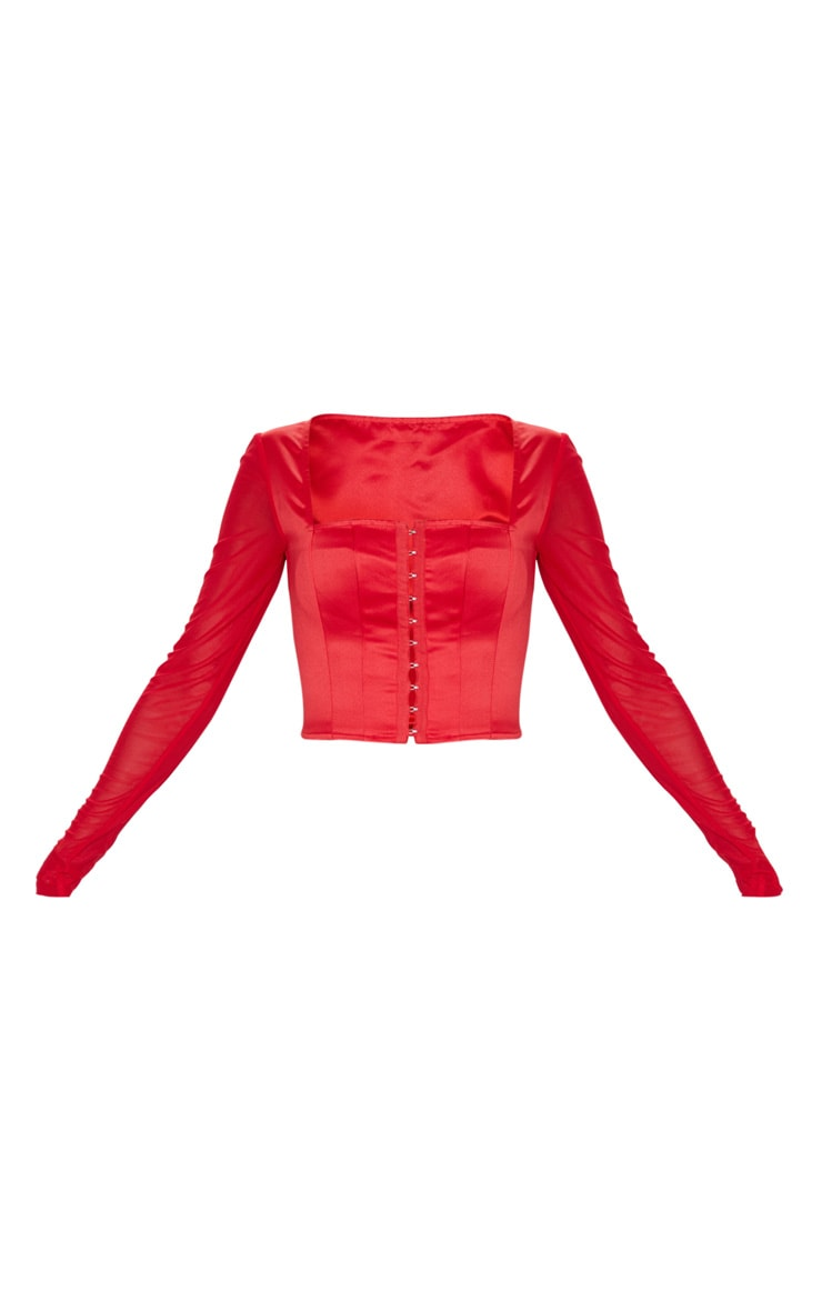 Red Satin Hook And Eye Sheer Sleeve Crop Top 3