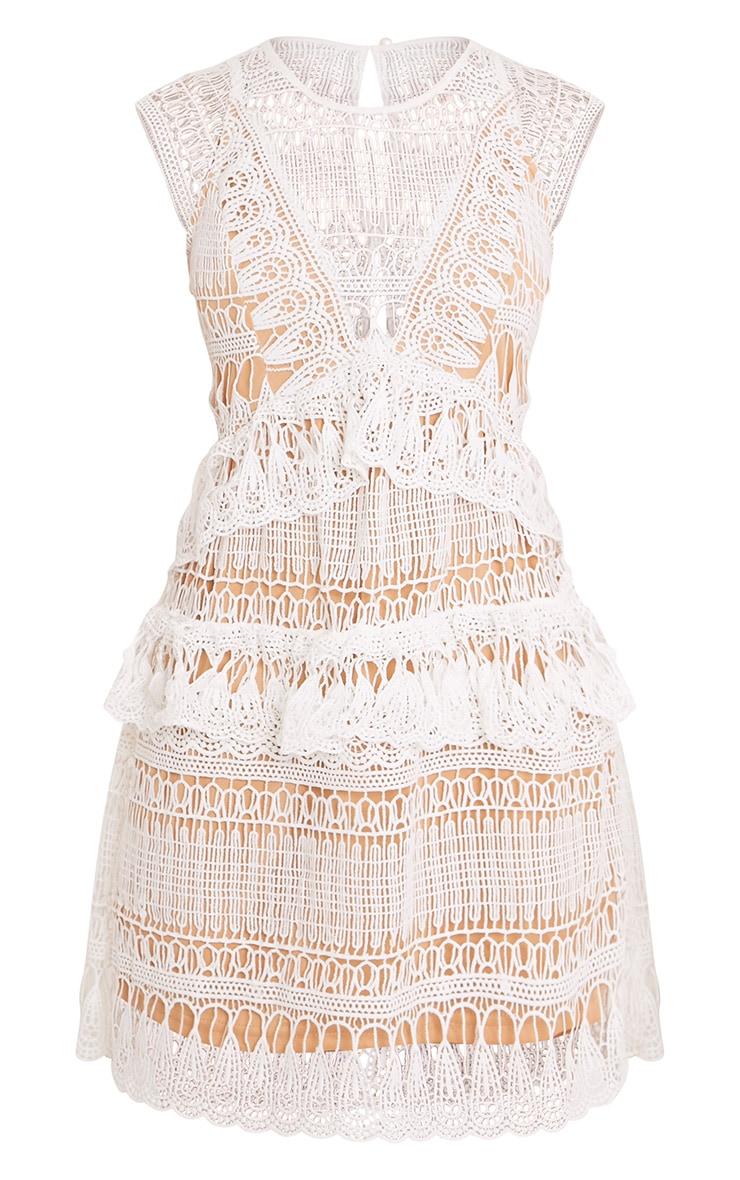 Rayna White Lace Frill Detail Mini Dress 3