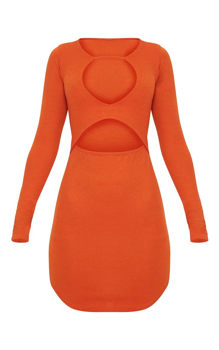 Burnt Orange Double Cut Out Long Sleeve Bodycon Dress 3