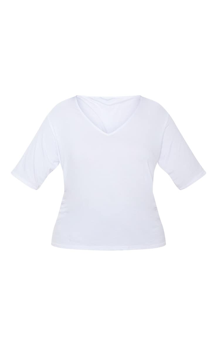 Plus White Basic V Neck T Shirt 3