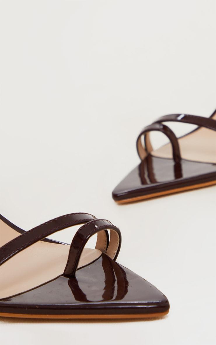 Chocolate Pin Heel Toe Loop Ankle Strap Point Sandal 4